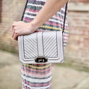 NWT REBECCA MINKOFF Quilted White Love crossbody
